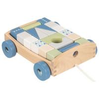 Fa húzható kiskocsi színes építőkockákkal 20 darabos Goki - kék