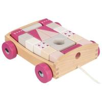 Fa húzható kiskocsi színes építőkockákkal  20 darabos -rózsaszín