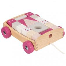 Fa húzható kiskocsi színes építőkockákkal  20 darabos -rózsaszín Előnézet