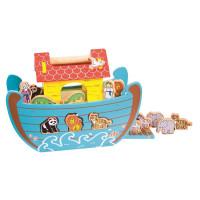 Fa játékhajó Noé bárkája BIGJIGS