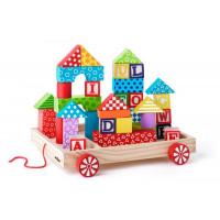 Fa húzható kiskocsi színes építőkockákkal  35 darabos Woody