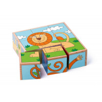 Fa kocka kirakó 9 darabos Wody - állatok
