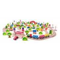 Fa vasútpálya szett híddal WOODYLAND Maxi set