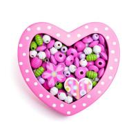 Felfűzhető fa gyöngyök WOODYLAND - Rózsaszín szivecskés