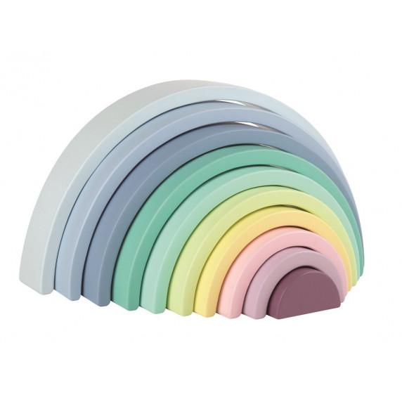 Fa építőjáték szivárvány LELIN Rainbow Stack