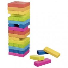 Jenga színes fa torony ügyességi társasjáték GOKI Rainbow Előnézet
