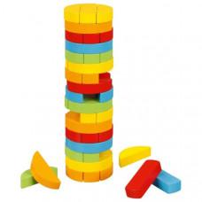 Jenga színes fa torony ügyességi társasjáték henger alakú GOKI  Előnézet