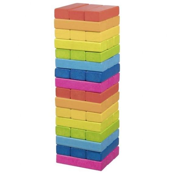 Jenga színes fa torony ügyességi társasjáték GOKI Rainbow