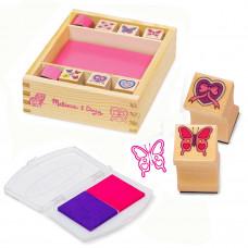 Fa játék bélyegző készlet MELISSA&DOUG Butterflies and hearts Előnézet