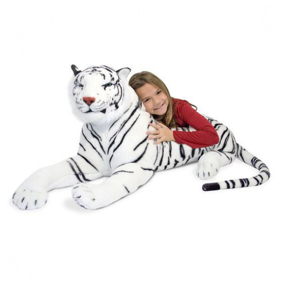 Plüss fehér tigris fekvő Melissa&Doug WHITE TIGER GIANT STUFFED ANIMAL