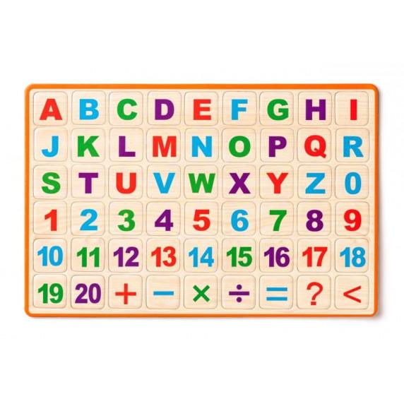 Asztali mágnes tábla betűkkel és számokkal Woodyland