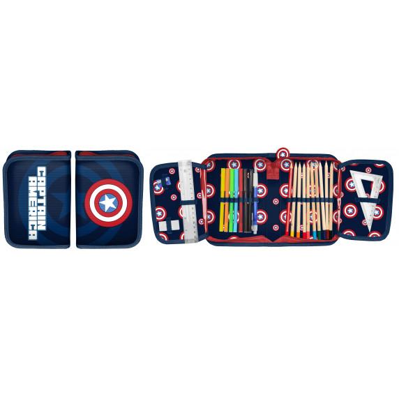 Amerika Kapitány tolltartó töltött PASO 19,5x13x3,5 cm - fekete-piros