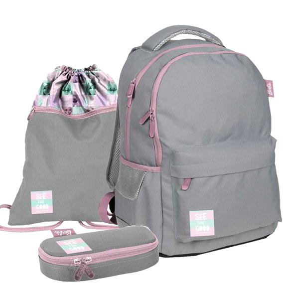 Iskolai szett Barbie szürke PASO - iskolatáska, tornazsák, tolltartó