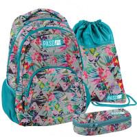 PASO Floral iskolai szett - iskolatáska, tornazsák, tolltartó