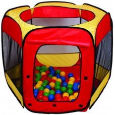 Gyerek játszósátor labdákkal - Piros/sárga Inlea4Fun Előnézet