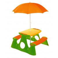Piknik asztal gyerekeknek napernyővel - narancssárga/zöld Inlea4Fun