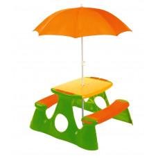 Piknik asztal gyerekeknek napernyővel - narancssárga/zöld Inlea4Fun Előnézet
