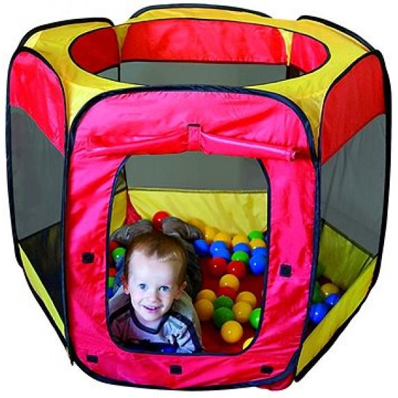 Gyerek játszósátor labdákkal - Piros/sárga Inlea4Fun