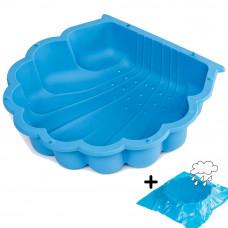 Kagyló homokozó takaróval 87 x 77,7 x 18 cm- kék Inlea4Fun Előnézet