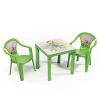 Kisasztal 2 székkel - Zöld