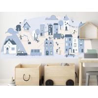 Falmatrica LIGHT BLUE SMALL TOWN 150  x 72 cm  - S