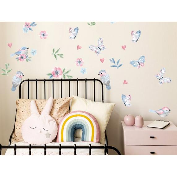 Falmatrica ANIMALS Birds - Kismadarak pillangókkal - pink