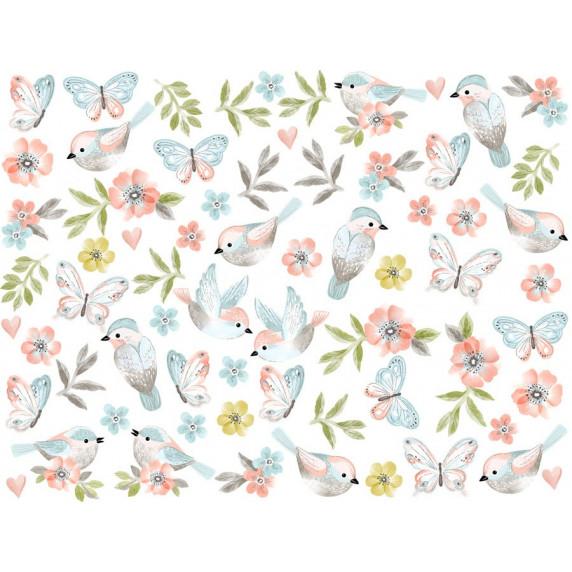 Falmatrica ANIMALS Birds - Kismadarak pillangókkal - barna