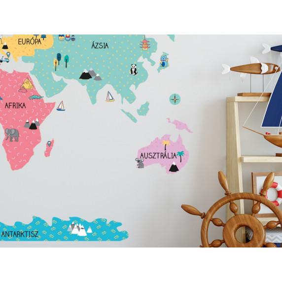 Falmatrica MAPS COLORFUL Világtérkép színes 140x70 cm - M