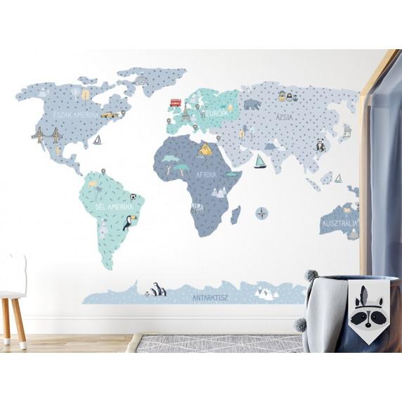 Falmatrica MAPS BLUE Világtérkép kék 140x70 cm - M