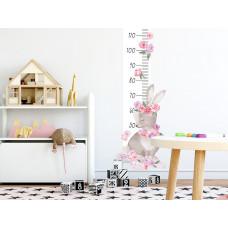 Magasságmérő falmatrica  SECRET GARDEN Rabbit - Nyuszis rózsaszín