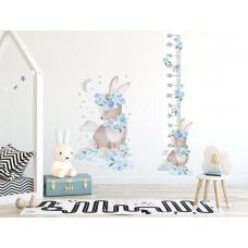 Magasságmérő falmatrica  SECRET GARDEN Rabbit - Nyuszis kék