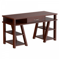 TAIPIT Comp Fiókos íróasztal polcokkal 140x60x78 cm - Burgundy