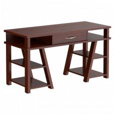 TAIPIT Comp Fiókos íróasztal polcokkal 140x60x78 cm - Burgundy Előnézet