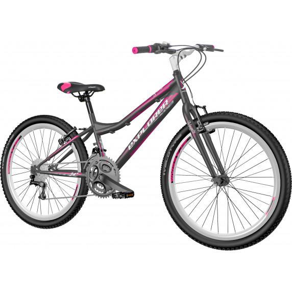 """Gyerek kerékpár Explorer Magnito  24""""/13""""MAG2410 - fekete/rózsaszín"""
