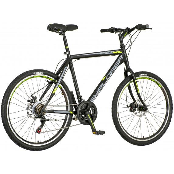"""Férfi kerékpár Explorer Classic  26""""/21"""" -fekete/szürke/zöld"""