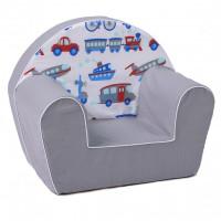 Gyerek fotel - közlekedési eszközök- szürke