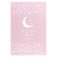 Gyerek szőnyeg holdacskás csillagokkal MOON 100x160 cm - rózsaszín