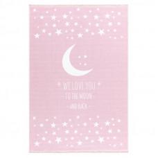 Gyerek szőnyeg holdacskás csillagokkal MOON 100x160 cm - rózsaszín Előnézet