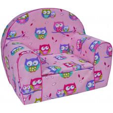 Aga gyerek fotel FBS3 - bagoly mintás rózsaszín Előnézet
