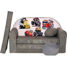Aga gyerek kanapé MAXX 040 - Meseautós/szürke Előnézet
