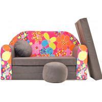 Aga gyerek kanapé MAXX 026 - Virágos/barna