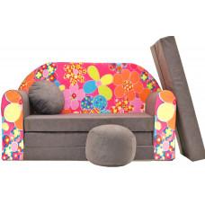 Aga gyerek kanapé MAXX 026 - Virágos/barna Előnézet