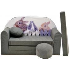 Aga gyerek kanapé MAXX 071- Nyuszis/szürke Előnézet