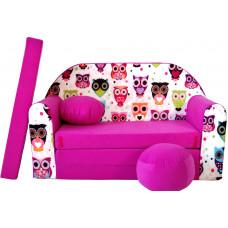 Aga gyerek kanapé MAXX 552 - Baglyos/rózsaszín Előnézet