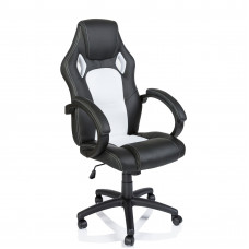 Racing Irodai szék - Fekete/fehér Előnézet