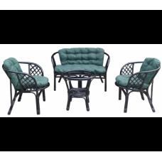 Lex BAHAMA rattan kertibútor szett - fekete/zöld Előnézet