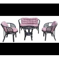 Lex BAHAMA rattan kertibútor szett - fekete-piros/fehér