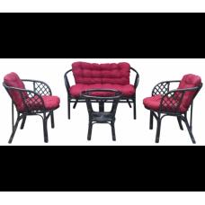 Lex BAHAMA rattan kertibútor szett - fekete/sötét piros Előnézet
