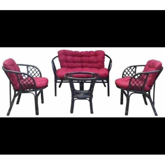 Lex BAHAMA rattan kertibútor szett - fekete/sötét piros