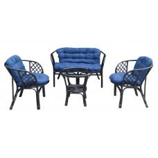 Lex BAHAMA rattan kertibútor szett - fekete/kék Előnézet
